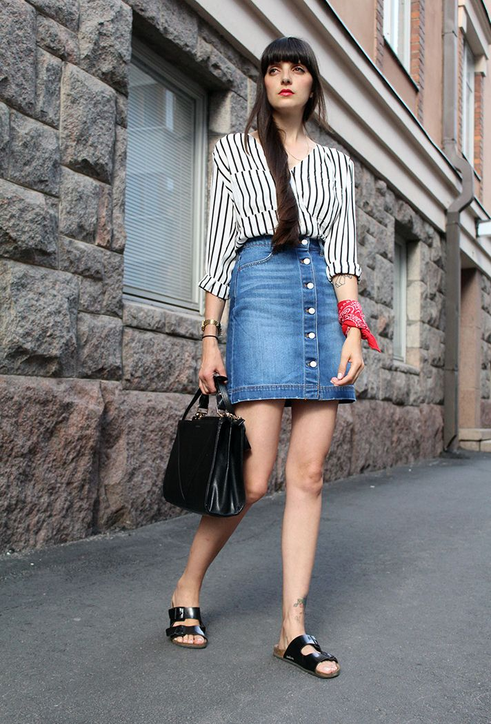 254 best Fashion: Denim Skirt Outfits images on Pinterest | Denim ...