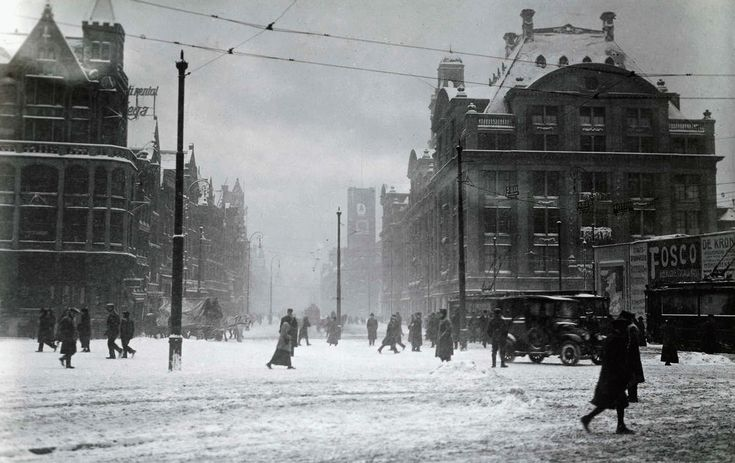 Winter in Amsterdam, The Netherlands, 1917.