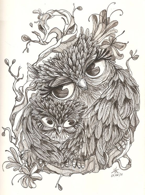 "Get my ""being a mommy"" and owl tattoo in one. I'd get the mother owl's head straight and add another baby...since I have Bella & Nolyn...I'd do it in color too thou. It could be pretty cool."