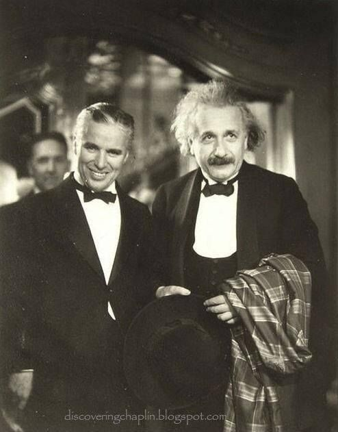 Charlie Chaplin with Albert Einstein at the premiere of City Lights, vintage, inspirering, great personalities, celeb, famous, portrait, photo b/w. 1931
