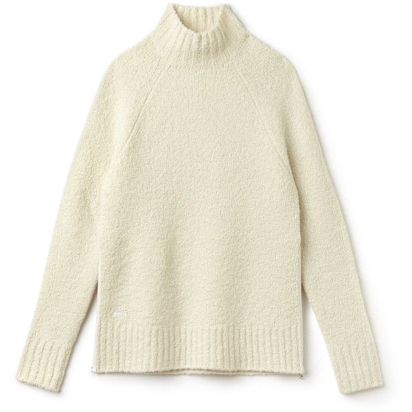 Lacoste Women's Stand-Up Collar Wool Loop-Pile And Alpaca Sweater ($195) ❤ liked on Polyvore featuring tops, sweaters, raglan sleeve top, lacoste tops, alpaca sweaters, side zip sweater and beige sweater