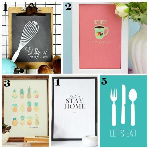 14 stampe gratuite in stili e colori diversi per decorare la casa e la cucina a