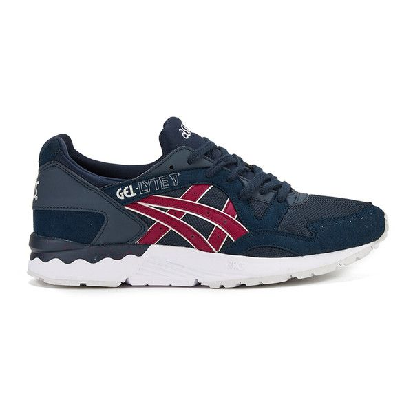 Asics Men's Gel-Lyte V Trainers - Indian Ink/Burgundy ($115) ❤ liked on  Polyvore featuring men's fashion, men's shoes, men's sneakers, blue, ...