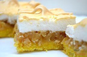 Eine interessante Kombination der Zutaten, aber umso schmackhafter. Ein Kuchen mit Apfel-Zimt-Füllung und einem Eischnee aus Eiweiß und Zucker obendrauf.