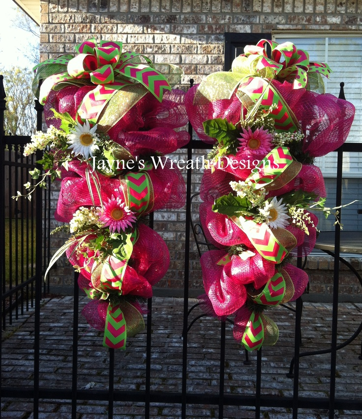 Spring swags for french doors with chevron ribbon