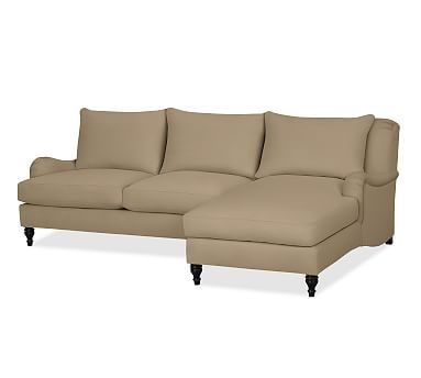 Carlisle Upholstered Left Arm Sofa with Chaise Sectional, Polyester Wrapped Cushions, Brushed Canvas Walnut