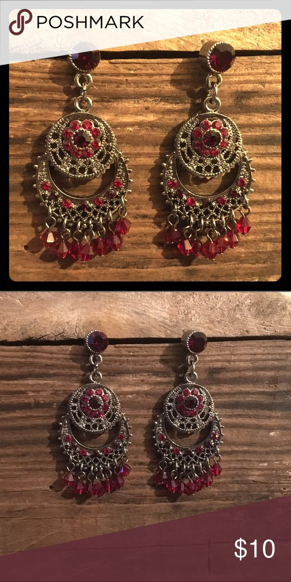 Deep red rhinestone drop earrings Glorious garnet red danglers. Pair with a little black dress. Jewelry Earrings