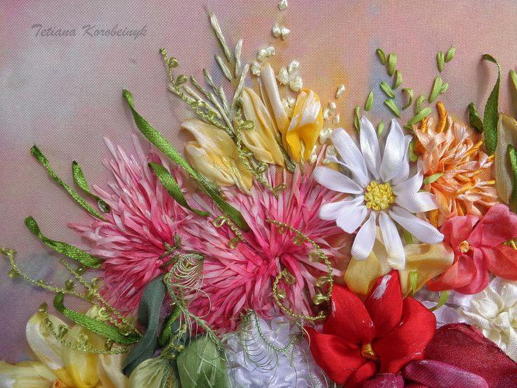 Vaso con i fiori, quadro ricamato, silk ribbon embroidery, ricamo con nastro