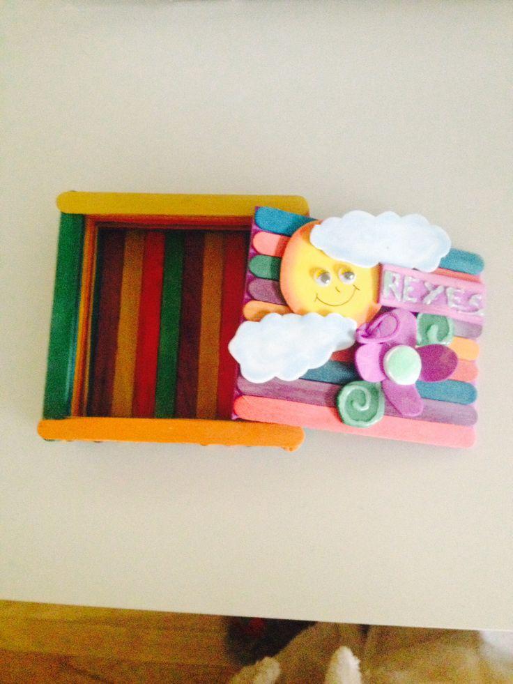 Cajita con palitos de helado by raquel craft ideas - Manualidades decorativas para el hogar ...