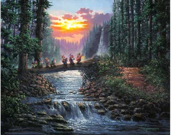 Thomas Kinkade Disney art   Disney Dreams Art - Rodel Gonzalez Forest Bridge - ...   Thomas Kinka ...
