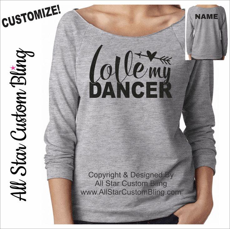 Love My Dancer Terry Raw Edge Raglan Shirt 3/4 Sleeve, Custom Dance Mom Shirt, Mom Dance Shirt, Personalized Dance Mom Raglan by AllStarCustomBling on Etsy