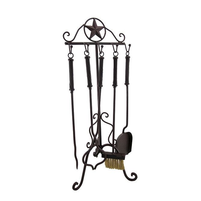 Rustic Western Star Wrought Iron Fireplace Tool Set, Brown