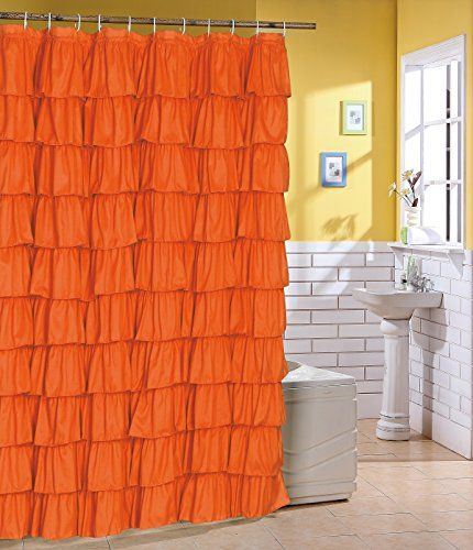 Ruffled Orange Fabric Shower Curtain >>> Read more reviews of the product by visiting the link on the image. Note:It is Affiliate Link to Amazon.