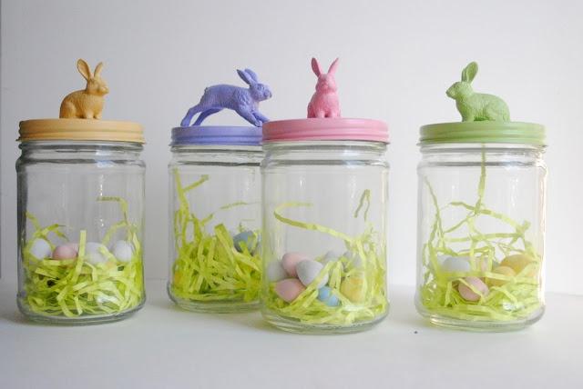 Osteridee , Plastik-Hasen auf Marmeladengläserdeckel kleben und einheitlich färben, Glas befüllen und zuschrauben