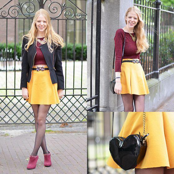 Get this look: http://lb.nu/look/6623812  More looks by Simone Shares: http://lb.nu/simoneshares  Items in this look:  Selfmade Skirt, Urban Outfitters Top, Thrifted Purse, Primark Belt, Primark Heels   #selfmade #skaterskirt #crop #croptop #tights #hearth