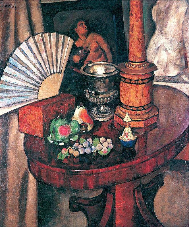 Илья Машков «Натюрморт с веером» 1922 г. 145 x 127,5 см. Холст, масло.