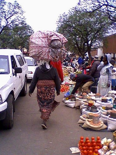 "Bulawayo City Market, Zimbabwe. It is the second largest city in Zimbabwe. Because it is regarded as the industrial and business capital of Zimbabwe, it is known as 'KoNtuthu ziyathunqa'- a SiNdeble word for ""a place of smoky fires"""