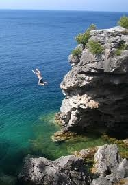 Leaping into icy water Georgian Bay