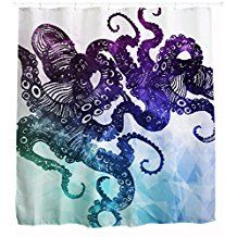 Unique Hipster Octopus Kraken Custom Ocean Abstract Art Shower Curtain, Waterproof and Mold Free Fabric Bath Shower Curtains, 72 x 72 Inch , Blue Teal and Purple