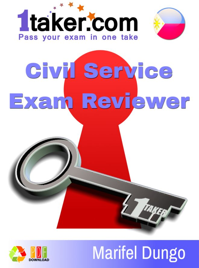 The most effective reviewer to pass the Civil Service exam in one take! With tips and strategies Contains all CS coverage - Professional and Sub-professional Contains English and Filipino coverage Up to Date Phil. Constitution and Current Events Questions...