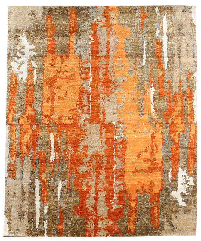 Oliver Modern Patinated Look Hand Knotted Gray Orange Area Rug Area Rugs Rugs Modern Rug Design
