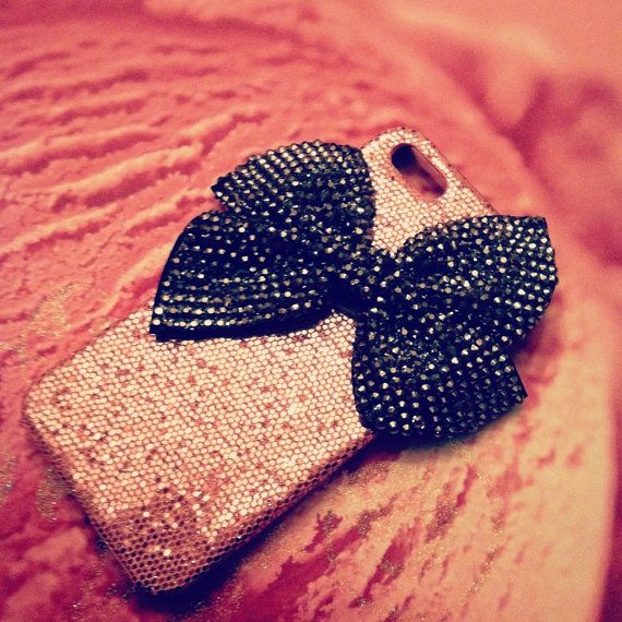 iPhone 5 Pink Glitter and Big Silver Studded Bling Bow case via Etsy