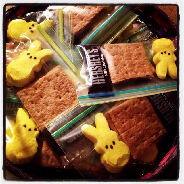 Peeps S'mores!....cute easter basket stuffer Since our party will be so close to Easter, I thought maybe some of us could bring things that would make cute basket stuffers. I'll be bringing supplies for people to make these if they wish.