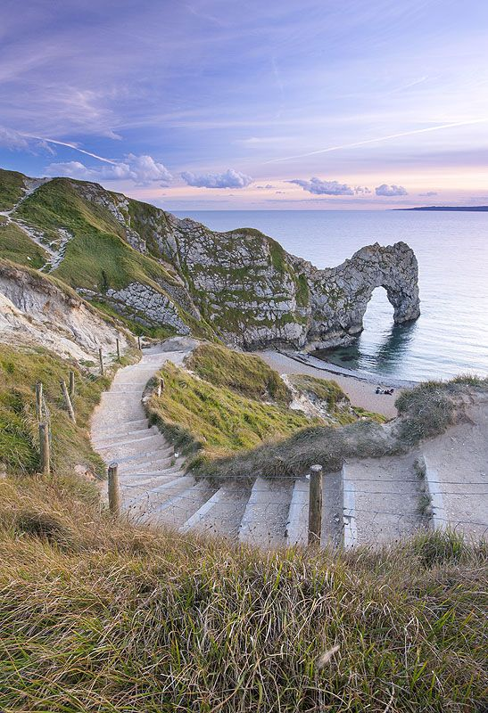 Steps to the beach, Durdle Door, Dorset, these eroded away in the storms of 2014