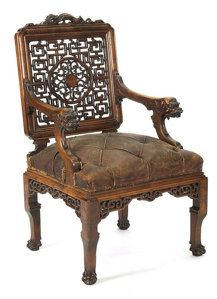 RARE CARVED ARMCHAIR <br /> By Gabriel Viardot in Chinese motifs. Original leather seat, carved open back and corner moldings. Signed on rear leg. Purportedly from the William K Vanderbilt mansion in New York.
