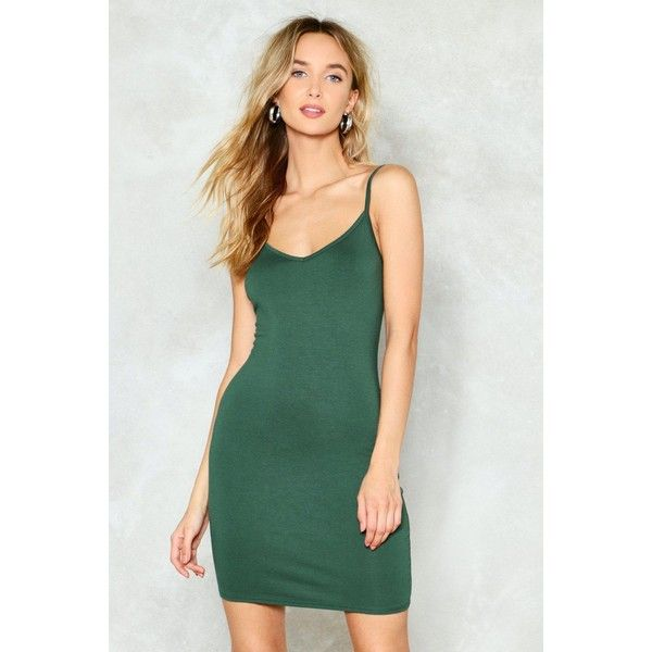 Nasty Gal Nobody Else Bodycon Dress ($12) ❤ liked on Polyvore featuring dresses, dark green, low back dress, low back cocktail dress, bodycon dress, dark green dress and green bodycon dress