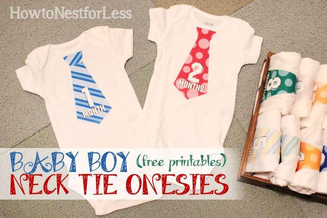 baby neck tie onesie free printable