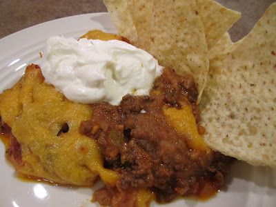 Taco Chip Dip 1 lb ground beef 1 packet taco seasoning (I ...