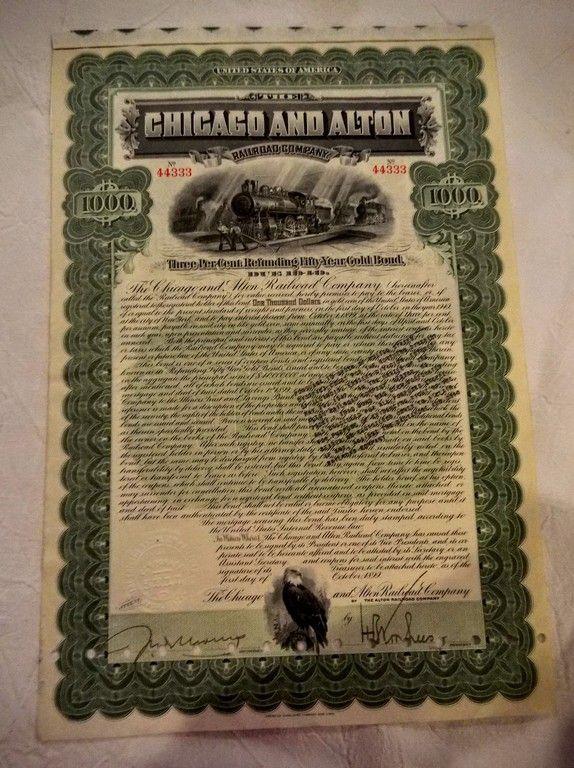 1899 $1000. Chicago and Alton Railroad Company Gold Bond wit