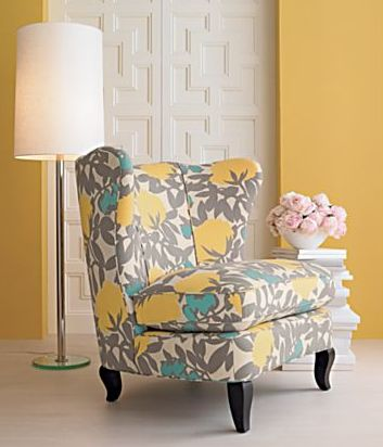 Yellow turquoise accent chair -- great color combo. I'm starting to see this color combo (mostly the yellow and gray) quite frequently in design lately. The turquoise adds just the right amount of coolness.