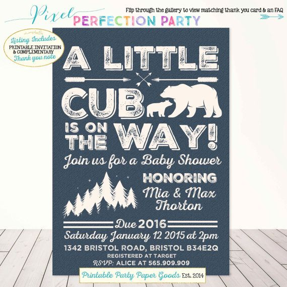 Bear Baby Shower Invitation Bear Cub Baby by PixelPerfectionParty