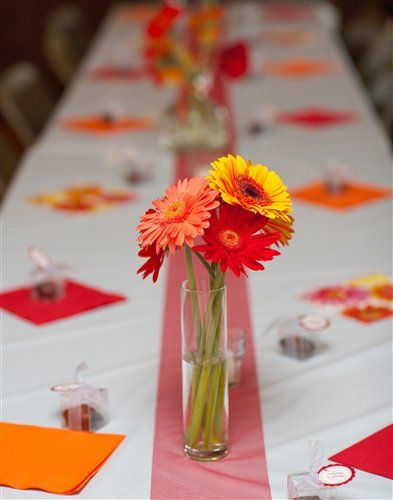 435 best bright colored wedding images on pinterest wedding simple bright gerber daisy wedding centerpieces junglespirit Gallery
