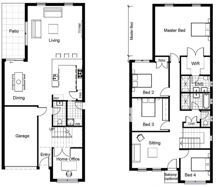 26 best small narrow plot house plans images on pinterest for Two story house layout