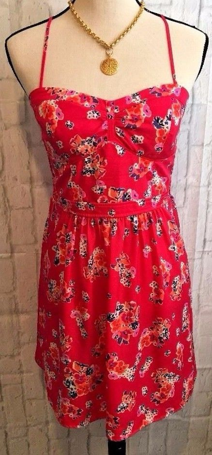 AMERICAN EAGLE  PINK Floral Print Spaghetti Strap Cross Back Dress SZ 8 #AmericanEagleOutfitters