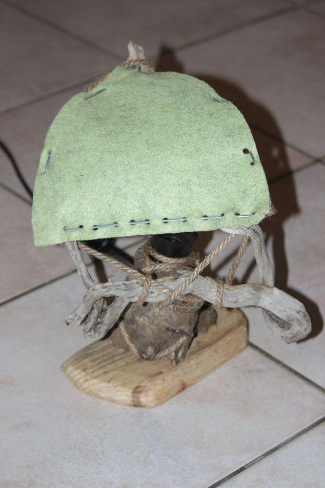 Lampada da tavolo legno di mare driftwood lamp handmade artigianale E27 vintage