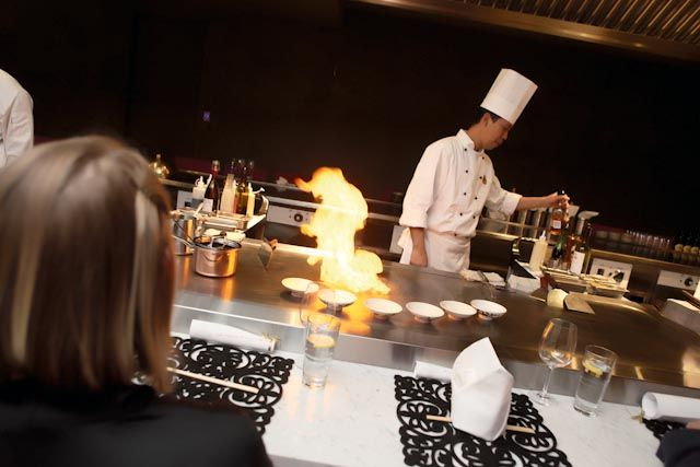 Wharf Teppanyaki, Sydney. Chef cooking Number One Special on the Teppan table