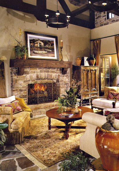 Stone floors, stone fireplace, wood beam ceiling, like it all!
