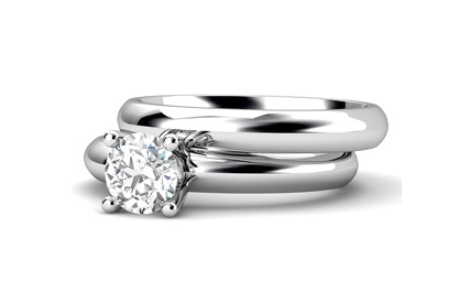 Simple and elegant white gold diamond engagement and wedding ring set by T & T Jewellers.