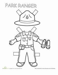 Park Ranger Paper Doll Worksheet