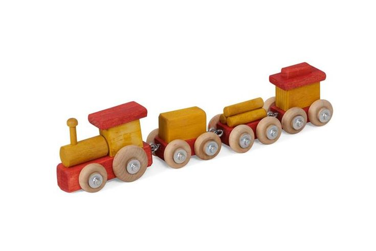 Amish Wooden Small Toy Train Select a solid wood toy to stimulate young creative minds.