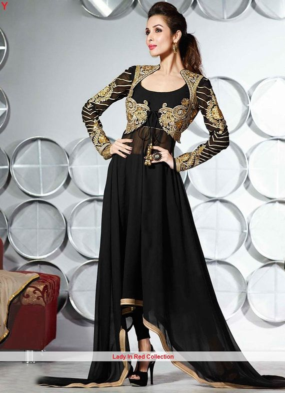 Malaika Arora Khan ®  Black Anarkali Suit by LadyInRedCollection