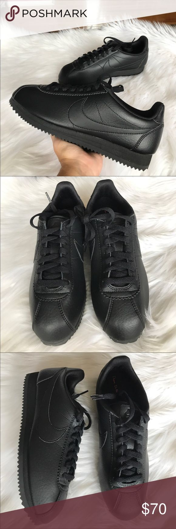 NEW NIKE CLASSIC CORTEZ STR BLACK LEATHER WMNS 8 New in the box all black Nike Classic Cortez Sneakers. Womens size 8. Never worn! Box is missing the lid. Shoes are brand new all black classics. Nike Shoes Sneakers