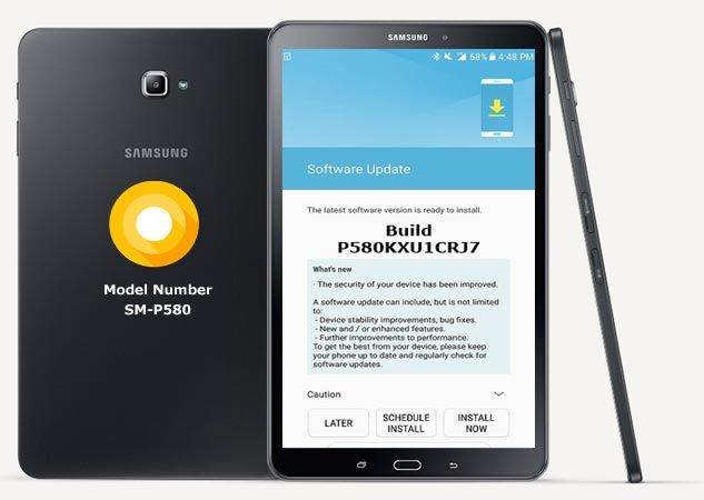 Samsung Galaxy Tab A 10 1 2016 SM-P580 Oreo Update 8 1