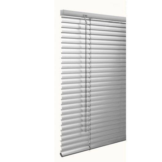Store vénitien aluminium, argent, 120x130 cm