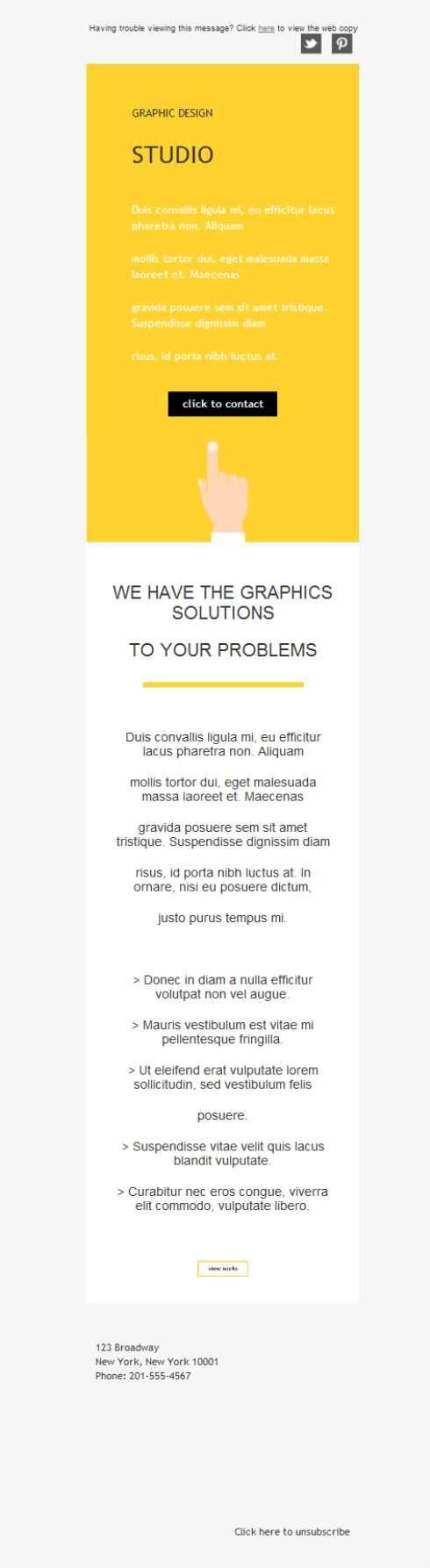 Versión responsive de plantilla newsletter para el sector de la ilustración y el diseño gráfico. Tus trabajos... ¡en todas las pantallas!