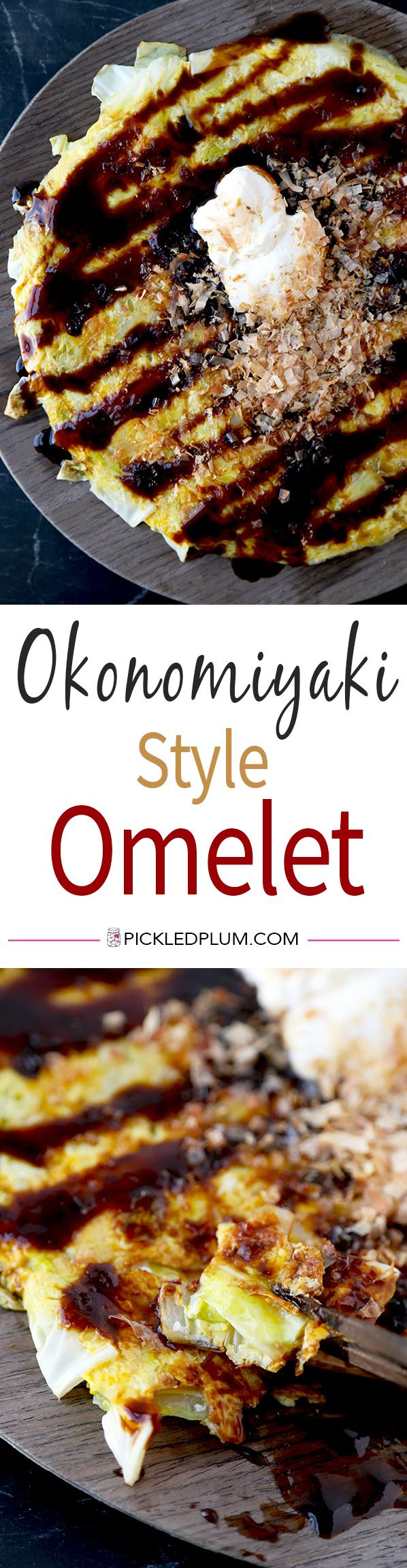 Okonomiyaki Style Omelet - No batter is needed for this healthy and delicious okonomiyaki style omelet recipe. Get all the flavors of okonomiyaki minus the carbs! Ready in less than 15 minutes from start to finish. Recipe, Japanese food, omelet, cabbage, Japanese pizza | pickledplum.com